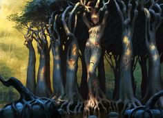 Sylvan Caryatid by chasestone on DeviantArt Wizards Of The Coast, Landscape Drawings, Fantasy Setting, Forest Creatures, Fantasy Creatures, Mythical Creatures, Magic The Gathering, Landscape Concept, Fantasy Landscape