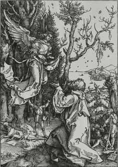 The Life of the Virgin: Joachim and the Angel: 1504 by Albrecht Dürer - woodcut (Cleveland Museum of Art, Cleveland, Ohio) Viewed as part of the Exhibition: Dürer's Women: Images of Devotion & Desire (August, 2014)