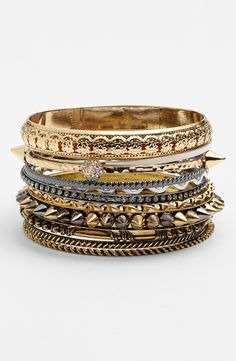 Stackable sparkly bangles with everything.
