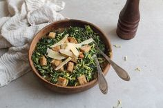 WINTER CAESAR SALAD with Kale & Brussels Sprouts