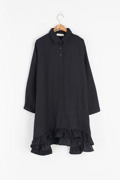 Unbalance Frill Detail Dress, Black