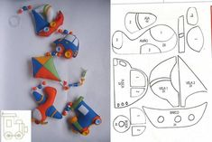 sailboat kite car and train airplane felt garland baby pattern design sewing craft stuffed toy Felt Patterns, Craft Patterns, Stuffed Toys Patterns, Quiet Book Templates, Felt Templates, Felt Garland, Felt Ornaments, Sewing Toys, Sewing Crafts