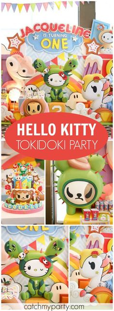 Loving this fun and colorful Hello Kitty Tokidoki party! See more party ideas at Catchmyparty.com!