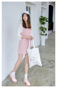Korean Fashion - Pink strap dress - AddOneClothing - 2