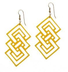 Baronyka Yellow Geometric Earrings (Acrylic Laser Cut Earrings)  These pair of earrings features set of yellow Squares made from acrylic and hang on NICKEL FREE silver plated over brass earwires.  Total Length is approx 3.15 inches from the top of the ear wire.  These earrings are lightweight yet substantial.  All of my jewelry comes with a gift box.  $28.9