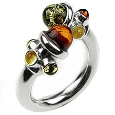 Multicolor Amber Sterling Silver Perfect Modern Ring Sizes5,5.5,6,6.5,7,7.5,8,8.5,9,9.5,10,10.5,11,11.5,12