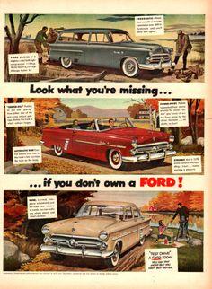 1953 Ford vintage car print ad Fordomatic station by Vividiom, $9.00