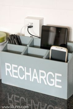 DIY Charging Station tutorial on { lilluna.com } Keep all the devices in one spot!