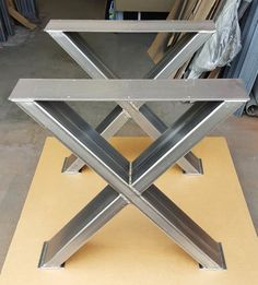 "Sturdy, Model Dining Table ""X"" Legs, Heavy Duty Metal Legs, Industrial Legs from x Tubing Robustes Modell Esstisch X Beine Schwer Steel Table Legs, Metal Dining Table, Modern Dining Table, Metal Legs For Table, Wood Tables, Dining Sets, Steel Furniture, Industrial Furniture, Porch Furniture"