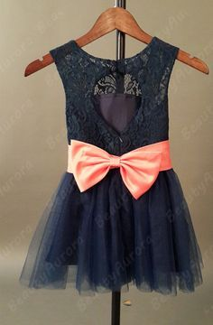 Navy Blue and Coral Lace Flower Girl Dress is so adorable.