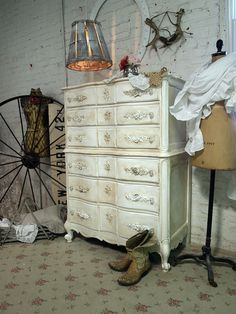 Painted Cottage Chic Shabby Tea Stained French by paintedcottages, $525.00