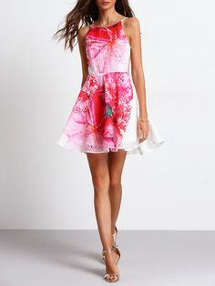 c1cb7b444023e Shop White Open Back Superb Easter Custom Floral Flare Dress EmmaCloth-Women  Fast Fashion Online