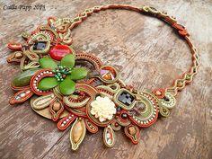 Designer OOAK soutache necklace collar black  rust green