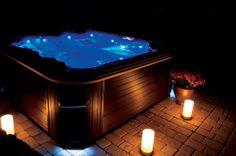 Outdoor hot tubs on pinterest hot tubs hot tub gazebo for Enhance mood lighting
