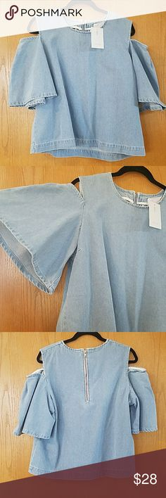 """New Asos cold shoulder denim top 10 Brand new with tags Cold shoulder denim top from Asos Thick denim fabric Zipper on back Size US10 Wide flutter sleeves 21"""" armpit to armpit  23.5"""" long Price is firm. Asos Tops Blouses"""