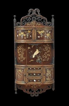 "Japanese hardwood wall cabinet, Meiji Period (1868-1912), inlaid with bone, mother-of-pearl & soapstone,  accented with green lacquer, h. 36"", w. 17"""