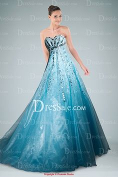 Elaborated Organza Sweetheart Empire Princess Dress for Prom Highlighted with Silver Beaded Applique