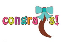 Hair Donation Congratulations Ponytail Bow and Bright Congrats Text Greeting Card