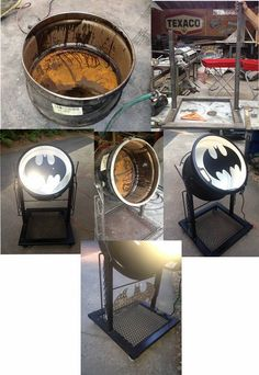 An old 55 gallon barrel...Scrap steel...Spot light...make your own bat signal
