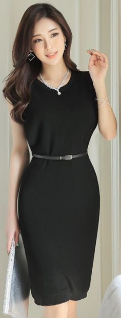 StyleOnme_Simple Belted Sleeveless Dress #black #simple #elegant #classy #feminine #koreanfashion #spring #kstyle #seoul #dress