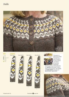 The Knitter 106 2017 Fair Isle Knitting Patterns, Fair Isle Pattern, Knitting Charts, Knitting Stitches, Knitting Designs, Knit Patterns, Fair Isle Chart, Icelandic Sweaters, Cardigan Pattern