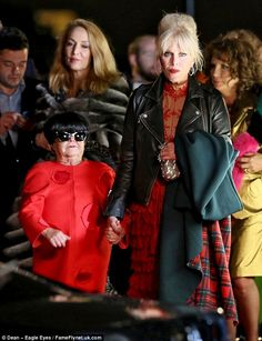Cameos aplenty! Joanna Lumley went hand-in-hand by Krankies star Janette Tough with Jerry Hall following close behind as they filmed star-studded party scenes for Absolutely Fabulous: The Movie in London