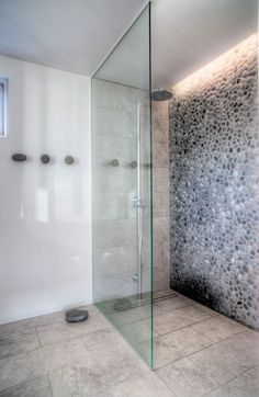 Stylish Shower Room With Rainfall Shower Head And Glass Panel Also Stone Wall Decorated By Hidden Led Lamp Transparent Family House in Iceland Home design Bathroom Renos, Basement Bathroom, Bathroom Interior, Small Bathroom, Bathroom Ideas, Bathroom Cost, Bathroom Layout, Stone Bathroom, Bathroom Remodeling