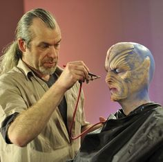 """2010 IMATS London featured speaker Neill Gorton conducts his class """"Fantasy Silicone Prosthetic Application."""" Photo by Nick Wall."""