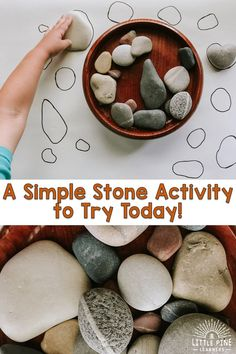 Try this simple stone matching game for kids today! This game will give your child the opportunity to practice using new vocabulary words, compare different sizes and shapes, strengthen fine motor skills, and appreciate nature in a new way! Montessori Toddler, Montessori Activities, Toddler Learning, Infant Activities, Preschool Science, Preschool Learning, Learning Activities, Fine Motor Activities For Kids, Motor Skills Activities