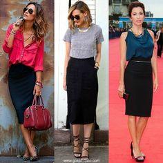 Como usar uma saia lápis preta e multiplicar o seu guarda roupa por mil. Veja como usar uma saia lápis de acordo com a sua personalidade.