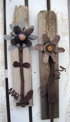 Rustic Decorative Flower Wall Art  Set of 2  by RusticSpoonful #industrial #homedecor #walldecor #wallart #rusticdecor #industrial #floral #flowers