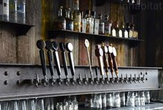 I-beam taps & wood - Southern Pacific Brewing San Francisco by Boor & Bridges
