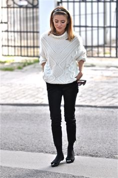 cable white sweater