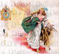 Victorian Linen CINDERELLA Fairy Tale by DandDDigitalDelights, $1.99
