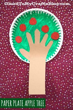 Paper Plate Apple Tree – Fall Kid Craft Idea – Handprint Trunk Element – Fall & Halloween Crafts For Kids – Primavera Paper Plate Crafts, Paper Crafts For Kids, Preschool Crafts, Paper Plates, Arts And Crafts, Diy Crafts, Easter Crafts, Halloween Crafts For Kids, Fall Halloween