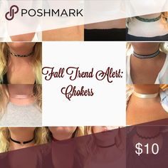 Shop the latest trend! In my closet🍂 Get the latest trend now all available in my closet! All these handmade chokers and more are available right now in my closet! My chokers are 11 inches long with 5.5 inches of adjustable extender chain so you can adjust them to fit you comfortably! Buy 3 and get 15% off!! 🍁🍂🍁🍂 Jewelry Necklaces