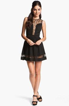 En Crème Lace Illusion Skater Dress (Juniors) available at #Nordstrom
