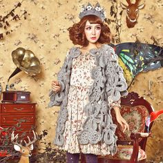 Forest Girl Retro flowers sweet gray shawl A word от Sexy8baby