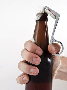 If you need to open a beer, and one hand is in your pocket or giving a high five -- the Kebo One-Handed Bottle Opener is here to assist. Pure Genius, Beer Opener, Blog Deco, Deco Design, Cool Gadgets, Kitchen Gadgets, Kitchen Tools, Craft Beer, Cool Stuff