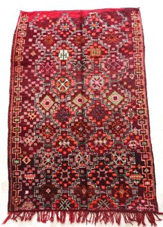 Boujad Vintage Moroccan Rug , Rag . Wool Boujad Carpet . Tapis Boujad  . by HandiraBlankets on Etsy https://www.etsy.com/listing/510383573/boujad-vintage-moroccan-rug-rag-wool