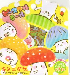 Kawaii Japan Sticker Flake Assort: Peaceful Seals Mushroom Family Polka Dot Colorful Stickers for diy Decorations Planner Schedule book
