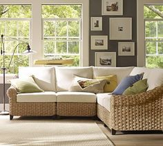 Holbrook Seagrass 5-Piece Sectional #potterybarn....I typically don't like seagrass or rattan furniture but this might look great in our beach-inspired keeping room