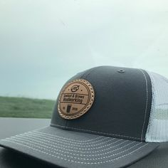 Leather Dark Brown Patch Engraved Trucker Hat Im A Prange! One Legging it Around of Course Im Right