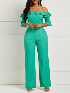 a110d717dde Plain Skinny Slash Neck Zip Falbala Women s Jumpsuit. Jumpsuits ...