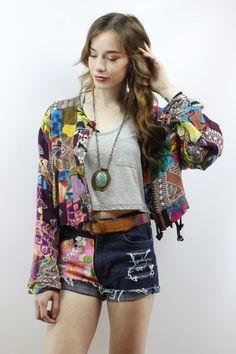 Vintage 90s Cropped Patchwork Hippie Boho Jacket, fits S/M/L by shopEBV