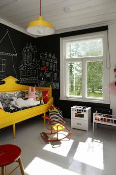 kids room | yellow bed | black walls