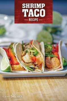 These spicy shrimp tacos are perfect for a quick weeknight meal or grilling out on the back patio. Mix and match ingredients to make the taco to your liking. Try the recipe today. Spicy Shrimp Tacos, Shrimp Taco Recipes, Fried Fish Recipes, Salmon Recipes, Fish Recipes Camping, Grilling Recipes, Tailgate Food, Tailgating, Quick Weeknight Meals