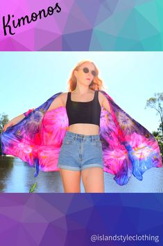 Gorgeous KIMONO hand made - tie-dyed. For women or teens. This is perfect to throw over bikinis at the beach, keep the sun off or as a casual cardigan. Many colours and styles to choose from. #kimono #beachcardigan #bikinicoverup #swimsuitcoverup #beachwear #cruisewear #cruiseapparel #tie-dye #boho #festivalclothing #festivalcoverup
