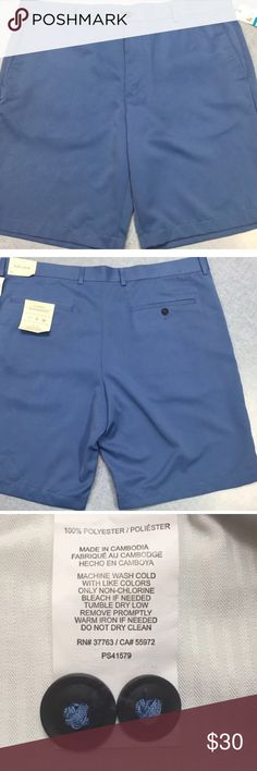 Perry Ellis Portfolio Bay Blue Flat Front Short 42 Perry Ellis Portfolio Bay Blue Flat Front Short Polyester Men's Size 42 BRAND/ DESIGNER: Perry  Ellis SIZE: 42 COLOR: Bay Blue MATERIAL: 100% polyester CARE: Machine wash cold. Tumble dry low CONDITION: NEW with tags MSRP: $59.50 PRODUCT DETAILS: Perry Ellis Portfolio men's short. Luxury performance, easy care, moisture wicking. Zip fly with button closure. Four pocket design. Six belt loops. Made in Cambodia Perry Ellis Shorts Flat Front