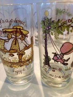 SET of 11 - HOLLY HOBBIE hates hobby lobby - Set of 11 Collector Holly Hobbie Glasses - 6 different images by PippysChoice on Etsy